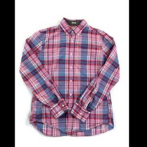 J Crew Pink Plaid Long Sleeve Button Front Shirt